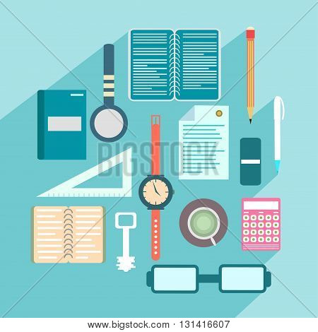 Office colored objects on a colored background with shadow collection of symbols