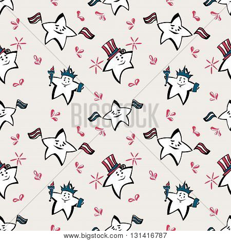 Independence Day vector seamless pattern with stars