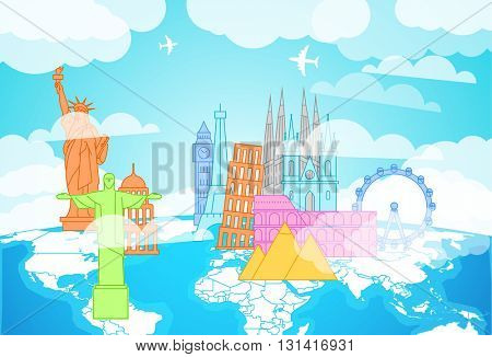 Famous buildings silhouettes on the Earth map. Lineart illustration