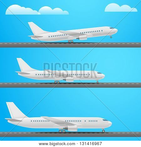 Different aircrafts collection. Flat design illustration