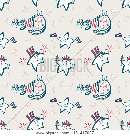Independence Day vector seamless pattern with lettering