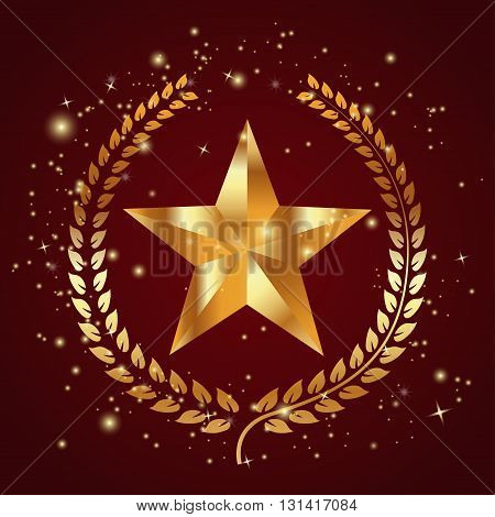 Gold star with a laurel wreath and lights on background
