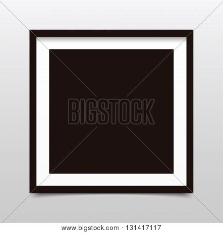 Square photo frame with shadow on a gray background