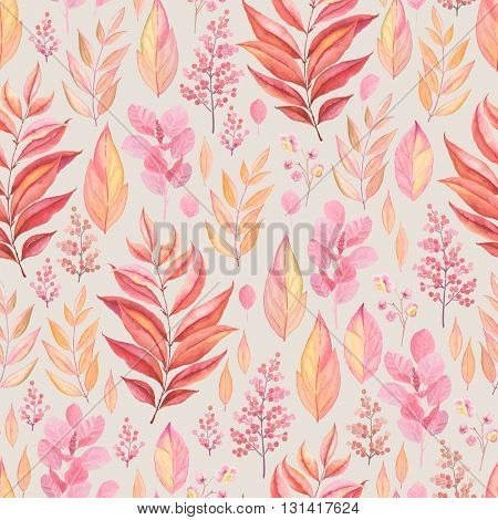 Seamless pattern of colorful branches and leaves pink, red, yellow and orange colors, vector illustration in vintage style.