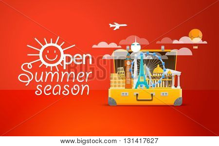 Travel bag vector illustration. Vacation design template. Open summer season logo