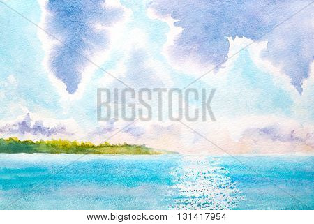 hand painted watercolor landscape with lake sunlight clouds