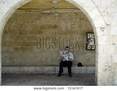 Jewish Man Reading Newspaper