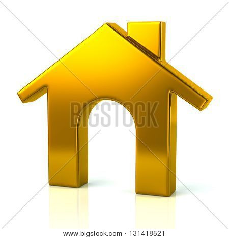 3d illustration of golden home icon isolated on white background