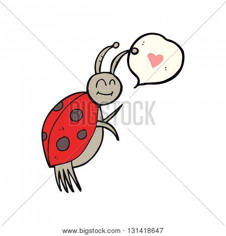 freehand drawn speech bubble cartoon ladybug
