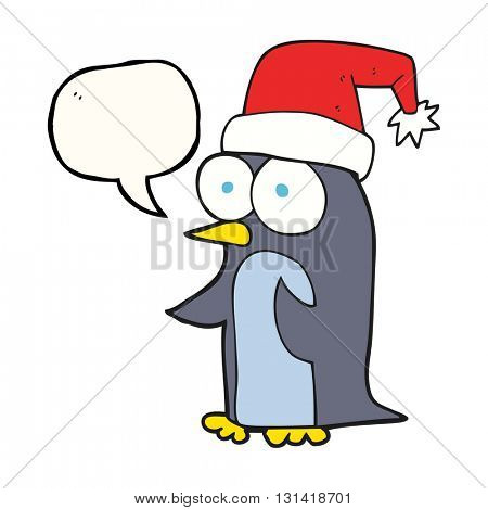 freehand drawn speech bubble cartoon christmas penguin