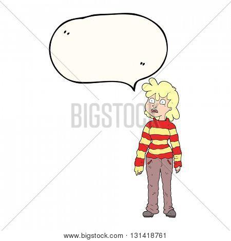 freehand drawn speech bubble cartoon teenager