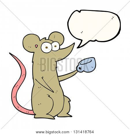 freehand drawn speech bubble cartoon mouse with coffee cup