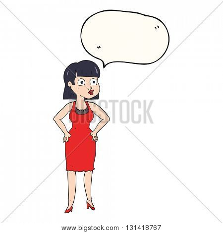 freehand drawn speech bubble cartoon woman in dress with hands on hips