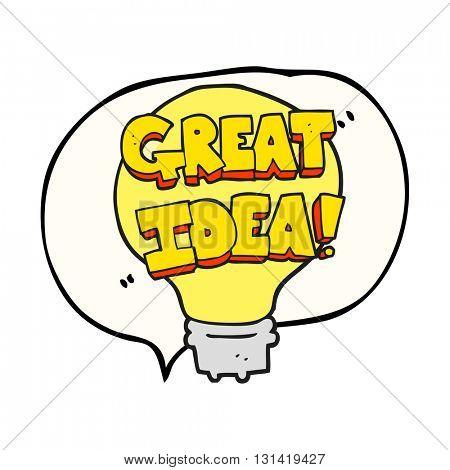 freehand drawn speech bubble cartoon great idea light bulb symbol
