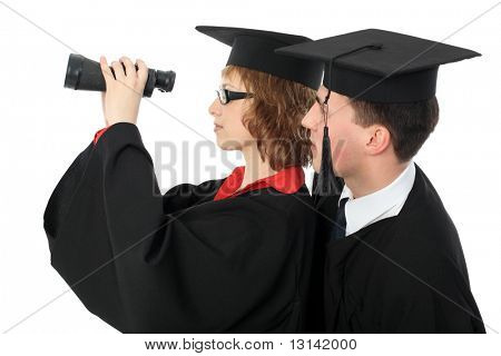 Portrait of a young men in an academic gown. Educational theme.