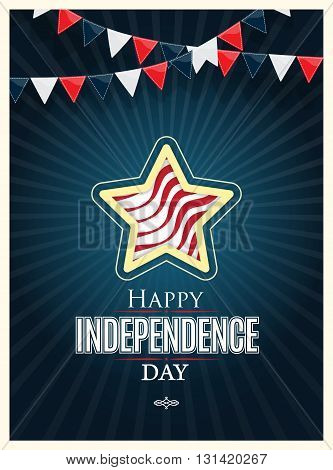 Independence day American signs with flag stripes, vector illustration.