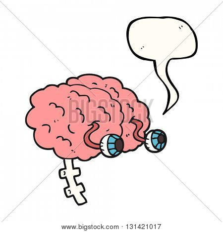 freehand drawn speech bubble cartoon brain