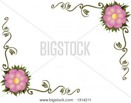 Flowers With Leaves And Scrolls