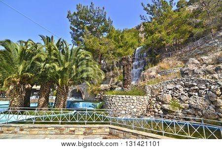 the waterfall at Loutraki Greece - famous greek places for vacation