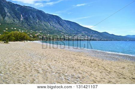 Verga beach at Kalamata Messinia Peloponnese Greece