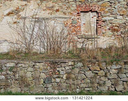 old medieval wall in Siedlecin, Silesia, Poland