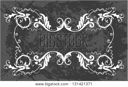 Black and white floral frame with branches