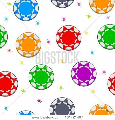 Seamless pattern with Colors Poker Chips in vector