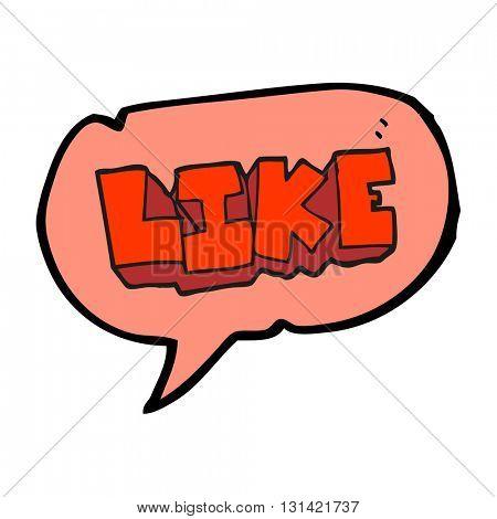 freehand drawn speech bubble cartoon word like