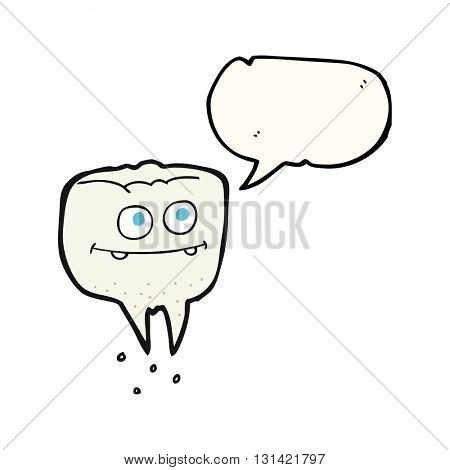 freehand drawn speech bubble cartoon tooth