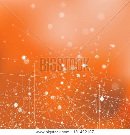 Orange Technology Background with Particle, Molecule Structure. Genetic and Chemical Compounds. Communication Concept. Space and Constellations.