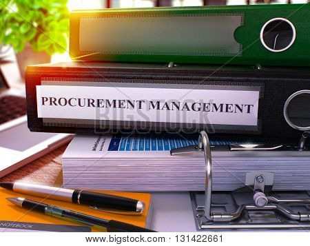 Procurement Management - Black Ring Binder on Office Desktop with Office Supplies and Modern Laptop. Procurement Management Business Concept on Blurred Background. 3D Render.