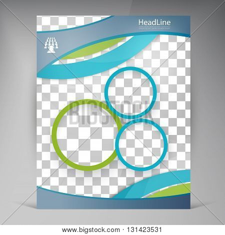 Vector Beautiful Blue Flyer. Template flyers design. Business brochure and circles