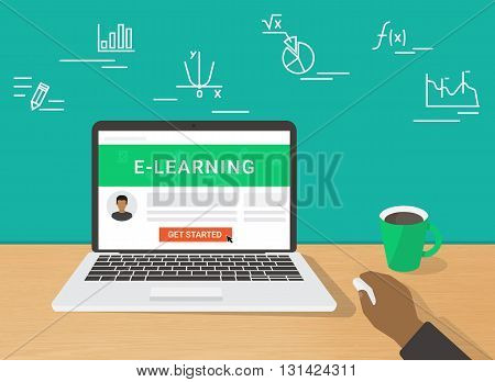 E-learning flat concept illustration of human hand working using laptop for distance studying and education. Man sitting at home and getting started distance education on website displayed on laptop