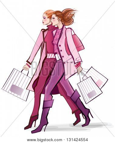 Two young fashionable women shopping - vector illustration