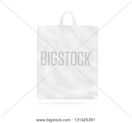 Blank white plastic bag with handle mock up isolated 3d illustration. Empty white polyethylene package mockup. Consumer pack ready for logo design or identity presentation. Commercial product food packet handle.