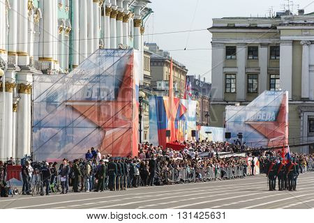 St. Petersburg, Russia - 9 May, The group stands in front bearers at the parade, 9 May, 2016. Festive military parade on the Palace Square in St. Petersburg.