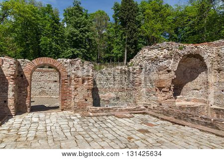 Panoramic view in The ancient Thermal Baths of Diocletianopolis, town of Hisarya, Plovdiv Region, Bulgaria