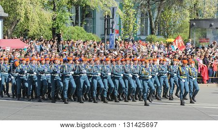 St. Petersburg, Russia - 9 May, Division Military Women rescuers at the parade, 9 May, 2016. Festive military parade on the Palace Square in St. Petersburg.
