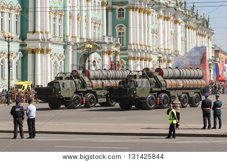 St. Petersburg, Russia - 9 May, Military rocket launchers, 9 May, 2016. Festive military parade on the Palace Square in St. Petersburg.