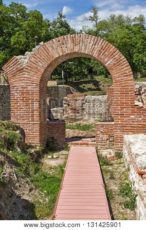 Ruins of entrance of roman bath in ancient Diocletianopolis, town of Hisarya, Plovdiv Region, Bulgaria