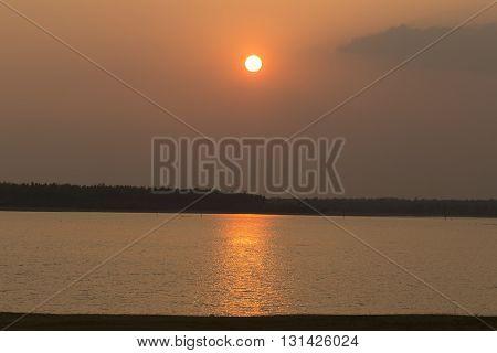 Sunset on the lake sakon nakhon Thailand.