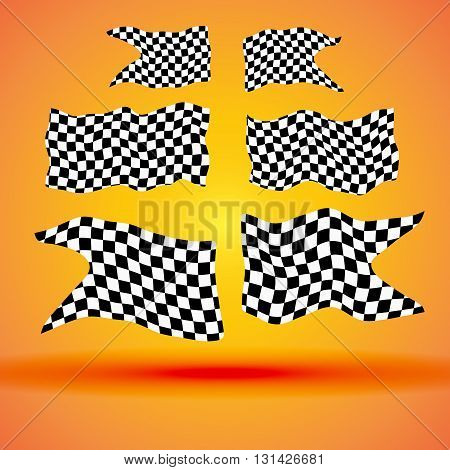 Racing background with set collection of six checkered flags vector racing illustration.