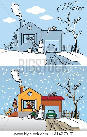 Illustration nature a big happy family winter in the house and on the street