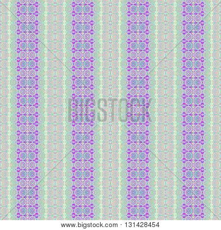 Abstract geometric seamless background.  Floral stripes and circles pattern purple, violet, Magenta, pink, beige, light blue and mint green.