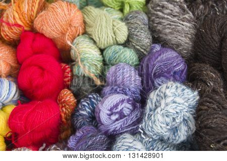 Colourful balls of yarn or knitting wool