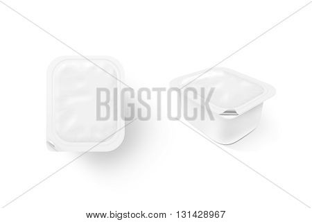 Blank white sauce box mock up stand isolated 3d illustration. Sause clear jar mockup 2 sides. Sour cream empty box design presentation. Butter packaging. Jam bank template. Pudding box pack. Butter plastic package.