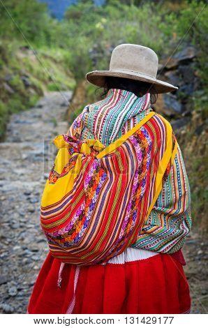 HUARAZ PERU - APR 20: Peruvian women on the street on Apr 20 2015 in Huaraz Peru