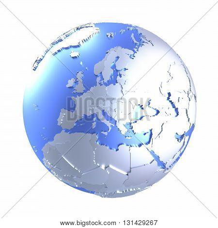 Europe On Bright Metallic Earth