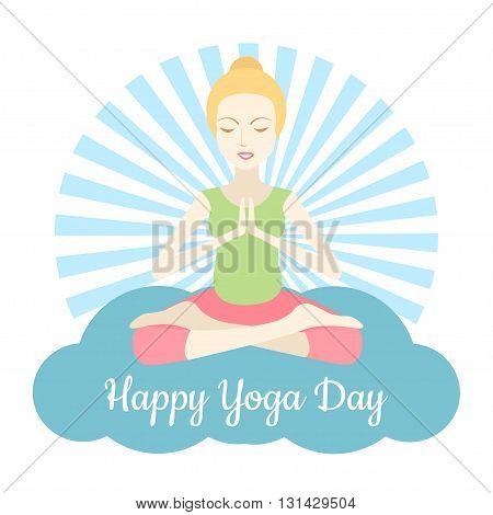 Happy Yoga Day vector illustration. 21 june World Yoga Day