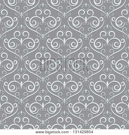 Stylish textile print with geometric ethnic design. Grey and white fabric background with abstract ornament. Monochrome fabric pattern. Simple seamless background.